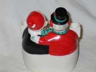 Vintage Christmas Ceramic Snowman Couple Candle Holder