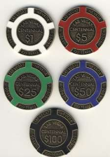 16+gr Las Vegas Cenennial 5 Poker Chips Collecor Se* |