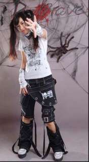 punk kera rock fashion visual kei skull printed unisex pants trousers