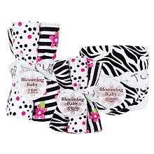 Trend Lab Zahara Zebra Print Hooded Towel Wash Cloth and Burp Cloth