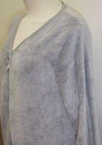 Oscar de La Renta ZIP UP Plush Robe with Satin & Lace Trim GREY Women