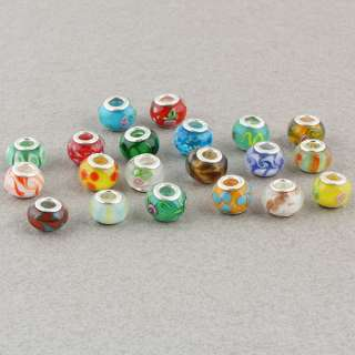 Mixed Lampwork Glass Big Hole Beads Fit Bracelet 50Pcs