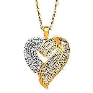 Diamond Heart Pendant Set in 18kt Gold over Sterling Silver  Jewelry