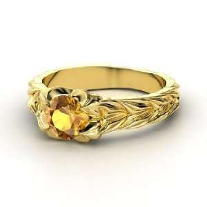 Rose and Thorn Ring, Round Citrine 14K Yellow Gold Ring