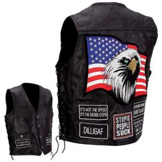 Leather Concealed Carry Motorcycle Vest, USA Patches