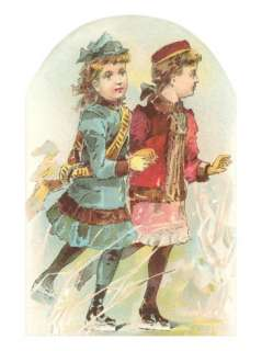 Two Victorian Girls Ice Skating Posters at AllPosters