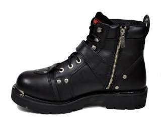 Brake Buckle Riding Motorcycle Style Black Boots 91684 Men Size