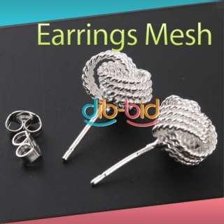 Fashion Women Jewelry Charm Mesh Round Ball Knot Silver Earring Gift