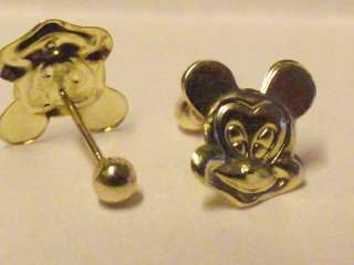 14K MICKEY MOUSE SOLID GOLD EARRINGS   NEW