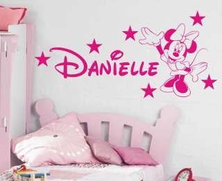 Minnie Mouse Personalised girls bedroom wall sticker kit, loads of