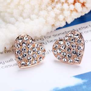 E2 18K rose Gold plated white gem Swarovski crystal heart earrings