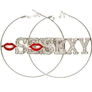 Large 2.5 Silver Plated Crystal Embellished SEXY Letters