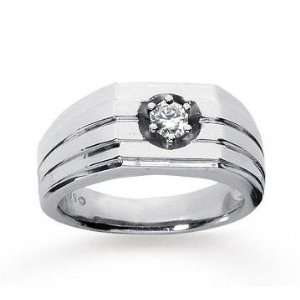 14k White Gold Trendy Prong 1/4 Carat Mens Diamond Ring Jewelry