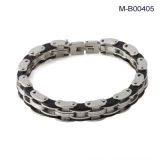 men s stainless steel linked chain or bike chain bracelet features