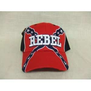 REBEL Hat Red & Black Baseball Cap Confederate Flag