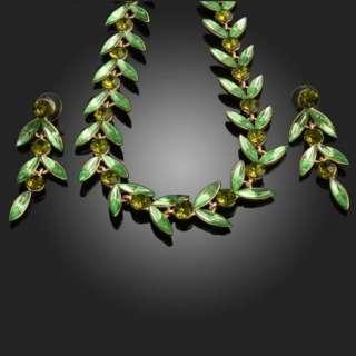 ARINNA peridot green leaf Crystal necklace earrings Set