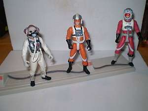 Lot of 3 Rebel Pilots. Star Wars Action Figures. Figure Base Included