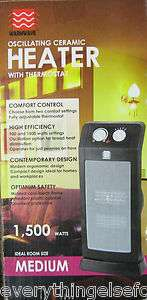 Portable Compact Oscillating Ceramic Space Heater 1500W w/Thermostat