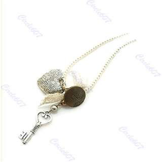 Fashion Cute Heart Pearl Key Bowknot Sweater Necklace