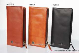 New TOUGH Removable Men Leather Brown Long Wallet 2013#