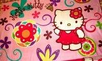 Lrg Hello Kitty Pink Fleece Panel Fabric Throw WallHang