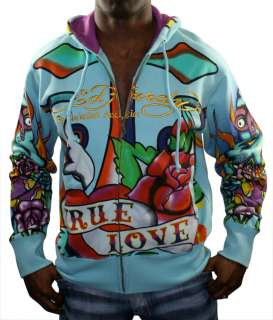 Christian Audigier Peace Cross Tattoo Hooded Mens Hoodie Sweatshirt