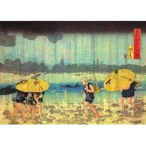 Labels Japanese Art Utagawa Kuniyoshi At the shore of the Sumida river