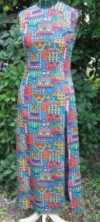 1960s Retro Flower Power Muriel Ryan Maxi Dress Sz 6