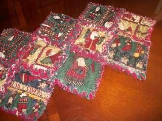 Santa Table Runner   Rag Quilt Christmas   Debbie Mumm Fabric