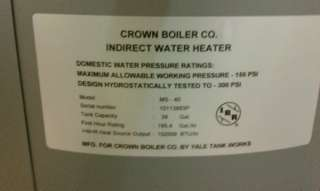 40 Gallon Mega Stor Stainless Steel Indirect Water Heater