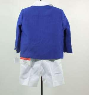 Boys Blue White Pink Suit Jacket Shirt Bow Tie Shorts 4pc imp