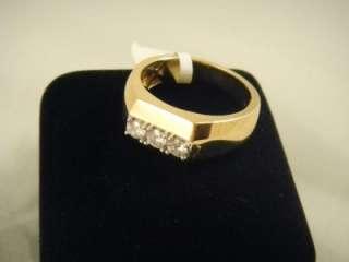MENS DIAMOND WEDDING BAND Past Present Future Ring YELLOW GOLD Mens