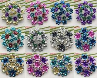 Quality Charming Flower Rhinestone Crystal Pin Brooch in 12 Styles