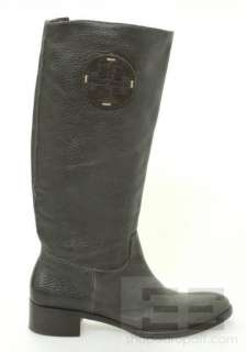 Dark Brown Pebbled Leather Monogram Riding Boots Size 9M NEW