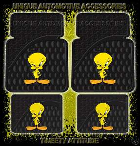 4PC TWEETY ATTITUDE CAR FRONT REAR RUBBER FLOOR MATS