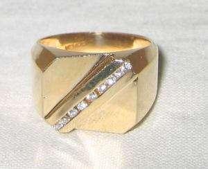 Estate 14K Solid Gold .20ct Diamond Polished Mans Ring