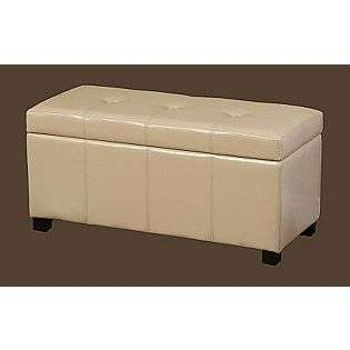 Ivory Leather Storage Bench  For the Home Living Room Ottomans