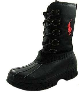 New Polo Ralph Lauren Mens Liam Black Nylon/Rubber Boots US 9