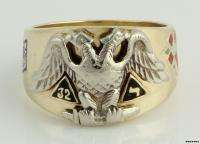 Unique* 32nd Degree Scottish Rite Masonic Band   10k Solid Gold Ring