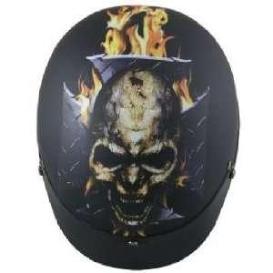 DOT Flat Black Flame Laughing Skull Motorcycle Helmet Sz XL