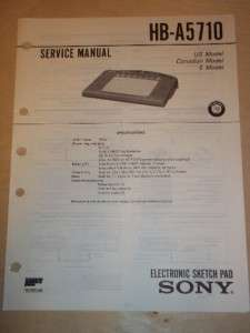 Sony Service Manual~HB A5710 Electronic Sketch Pad