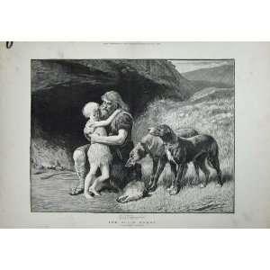 1882 Hardy Art Little Boy Man Hunter Dogs Wolf Head