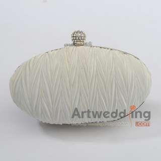 Elegant Satin Pleated Wedding Bridal/Evening Clutch Handbag