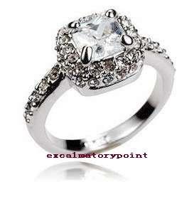 18k White Gold GP w/ Swarovski Crystal Engagement Ring _ 8 R114