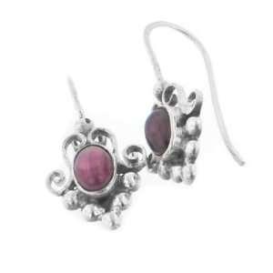 Sterling Silver Victorian Type Red Garnet Hook Earrings Jewelry