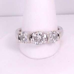 04 CTW 3 STONE DIAMOND ENGAGEMENT RING WHITE GOLD