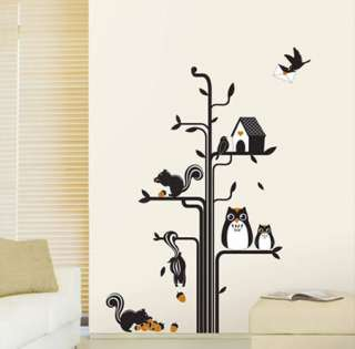 Squirrels Owls & Birds Nest Flowers Wall Stickers Kids Bedroom Decals