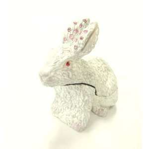 White Rabbit with PINK Crystals Ears Bejeweled Trinket Box