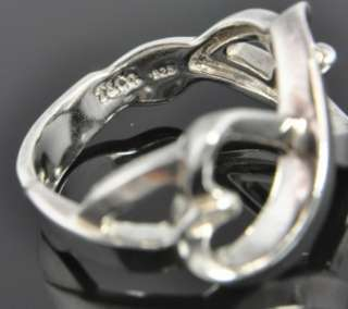 Co Paloma Picasso Sterling SIlver Double Loving Heart Ring Sz 6.5 NR