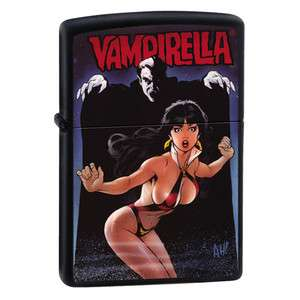 in Bikini with Dracula Comic Book Black Matte Zippo Lighter
